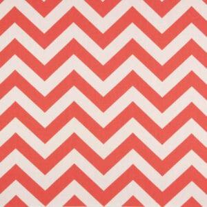 Zig Zag - Coral / White - Discount Designer Fabric - fabrichousenashville.com
