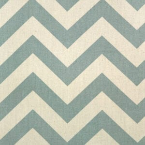Zig Zag - Village Blue / Natural - Discount Designer Fabric - fabrichousenashville.com