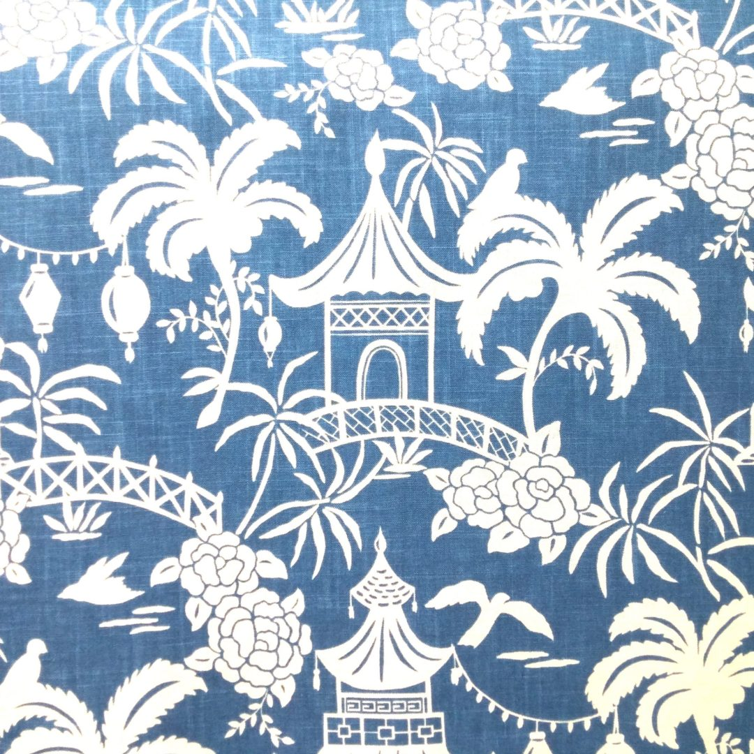 moon pagoda indigo discount designer fabric fabrichousenashvillecom - Decorator Fabric