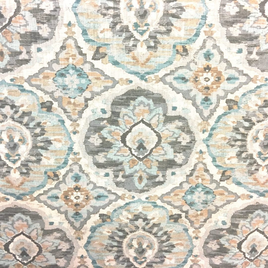 Zari -Cloud fabric with brown, teal and white patter from The Fabric House, online fabric store, designer fabric and trim, upholstery fabric, decorator fabric.