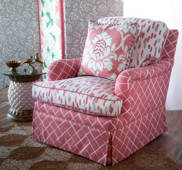 Fabric store Nashville, TN, chair with Madcap Cottage Robert Allen fabric, Louisville, KY designer fabric, trim, decorator outdoor fabric.