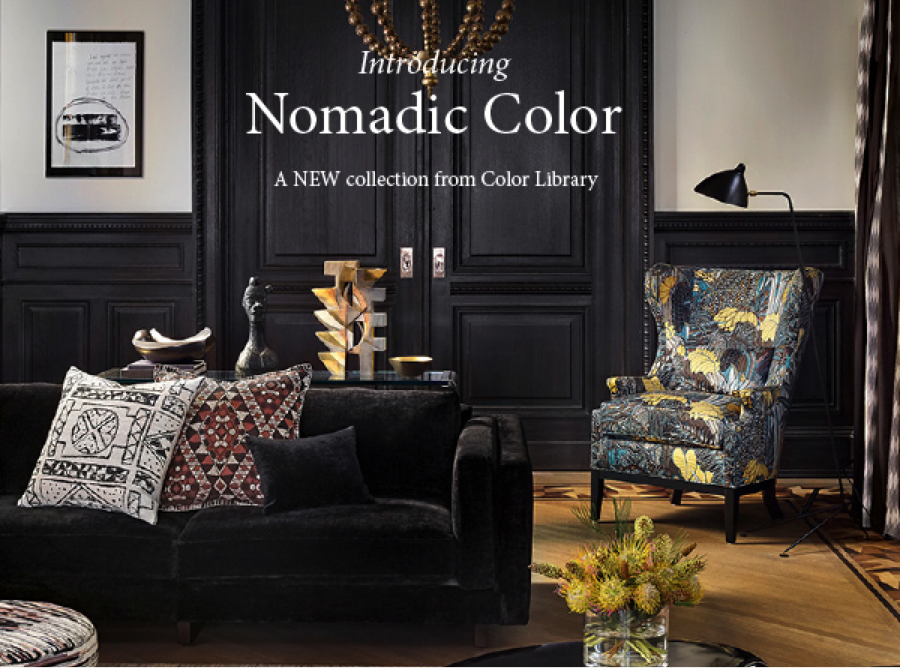 Nomadic Color Robert Allen, fabric store in Louisville, KY and Nashville, TN for designer and decorator fabric, upholstery fabric and drapery hardware.