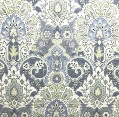 Blue and green fabric with intricate pattern - The Fabric House, buy fabric online, upholstery fabric, online fabric store
