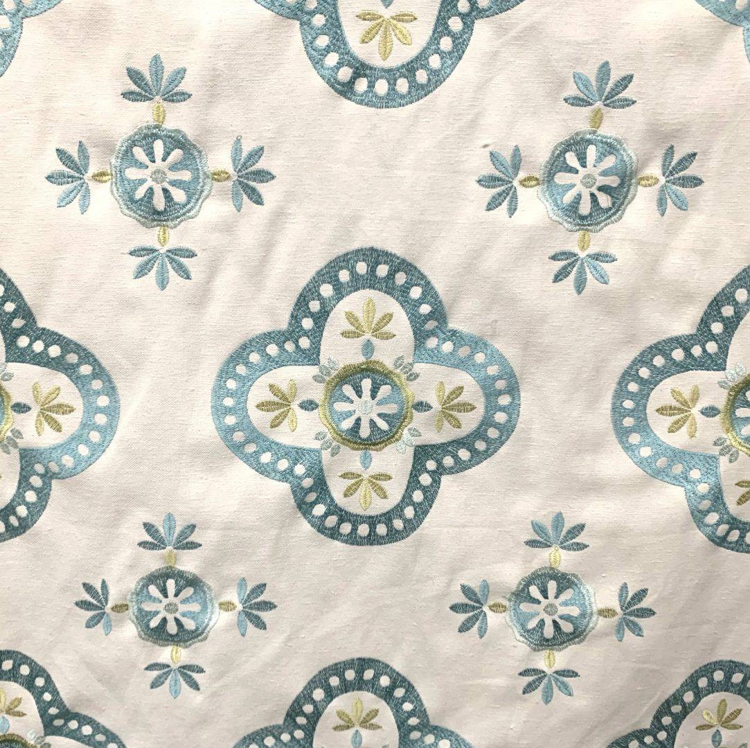 Viola - Aqua Fabric Pattern. Best Fabric store in Nashville, TN with designer and decorator fabric and trim. Our online fabric store allows you to buy fabric online and either send it to your home or arrange for an in-store pickup.